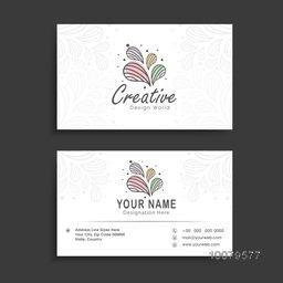 Stylish colorful floral decorated, horizontal business card, visiting card or name card set.