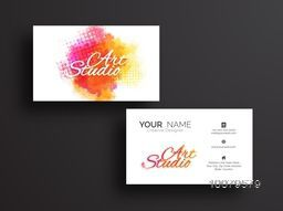 Horizontal Business Card, Name Card or Visiting Card set with colorful splash.