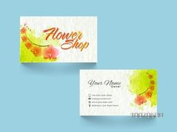 Stylish Business Card, Visiting Card, Name Card or Call Card with flowers for Flower's Shop.