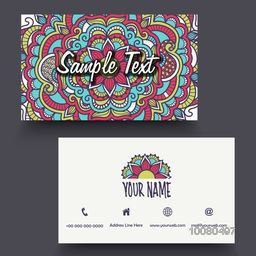 Beautiful floral design decorated, Horizontal Business Card, Visiting Card or Name Card set with front and back side view for your Business.
