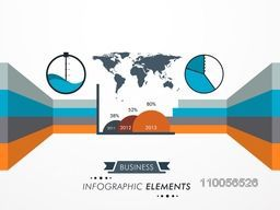 Creative infographic element for business purpose with pie graph, map and year wise growth chart.