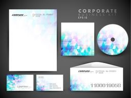 Creative corporate identity kit include CD Cover, Letterhead, Business Card and Envelope shiny abstract design.