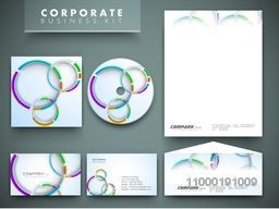 Creative corporate identity kit include CD Cover, Letterhead, Business Card and Envelope with colorful abstract design.