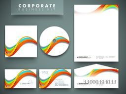 Creative corporate identity kit include CD Cover, Letterhead, Business Card and Envelope with colorful abstract waves.