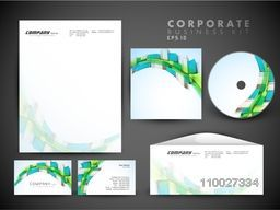 Creative corporate identity kit include CD Cover, Letterhead, Business Card and Envelope with 3D abstract design.