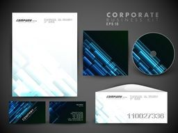 Creative corporate identity kit with glossy shiny abstract include CD Cover, Letterhead, Business Card and Envelope.