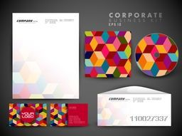 Creative corporate identity kit include CD Cover, Letterhead, Business Card and Envelope with colorful abstract geometrical design.