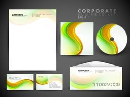 Creative corporate identity kit include CD Cover, Letterhead, Business Card and Envelope with glossy colorful waves.