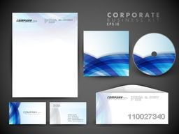 Creative corporate identity kit include CD Cover, Letterhead, Business Card and Envelope with shiny blue waves.