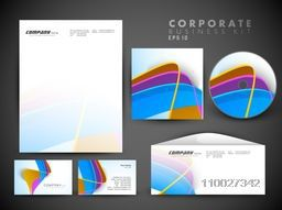 Creative corporate identity kit include CD Cover, Letterhead, Business Card and Envelope with creative colorful waves.
