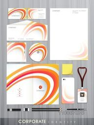 Professional corporate identity set with colorful abstract wave effect for your business includes CD Cover, Business Card, Envelope, ID Card and Letterhead.