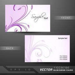 Purple floral design decorated business card or visiting card set.