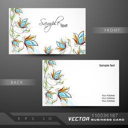 Colorful floral design decorated business card or visiting card set.