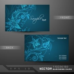 Floral design decorated business card or visiting card set.