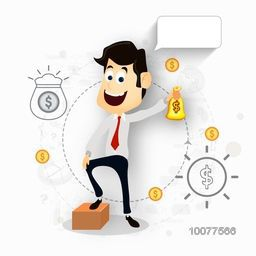 Creative illustration of a young happy Businessman holding money bag with blank speech bubble on shiny background.