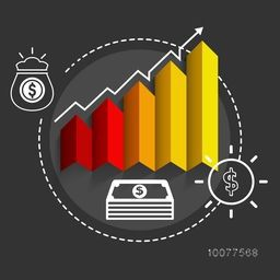 Creative statistical graph infographic, showing growth of Business on grey background.
