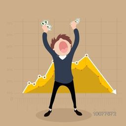 Creative illustration of a young Businessman holding money on statistical graph decorated background.