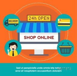 Set of creative elements for 24h Open, Online Shopping concept.