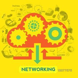 Creative infographic elements on yellow background for Networking concept.
