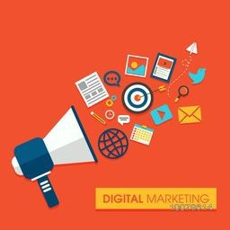 Digital Marketing concept with illustration of a speaker and other elements.