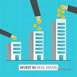 Illustration of human hands with dollar coins, concept for invest in Real Estate.