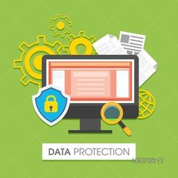 Illustration of a lock with desktop and other infographic elements for Data Protection concept.