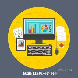 Creative statistical graphs on digital devices with other infographic elements for Business Planning Concept.