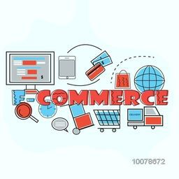 Creative infographic elements with digital devices for E-commerce Business concept.