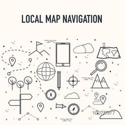 Various creative Infographic elements for Map Navigation concept.