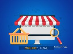 Creative Infographic elements with desktop for E-commerce, Pay Online, Online Store and Online Shopping concept.