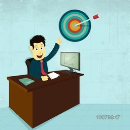 Illustration of a young Businessman pointing toward target at office for Business concept.