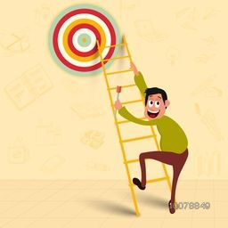 Illustration of a man holding a dart, trying to reach his success goal for Business concept.