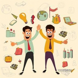 Young smiling Businessmen on colorful infographic elements background for Business concept.