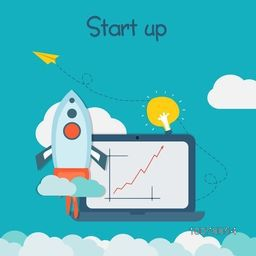 Creative Infographic layout of Start up a New Business with colorful rocket and growth bar on laptop.