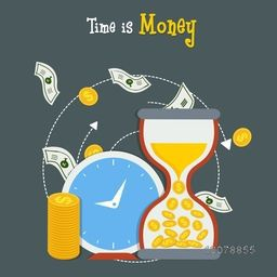 Time is Money concept with clock and golden dollar for saving and management.