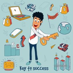 Illustration of young Businessman holding key to success with colorful infographic elements for Business concept.