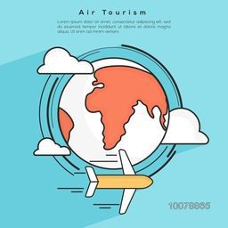 Air Tour and Traveling concept with airplane flying around the world globe.