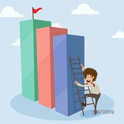 Illustration of young happy Businessman trying to reach his success goal for Business concept.