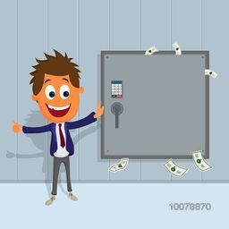 Creative Business concept with illustration of Businessman standing near safe and smiling.