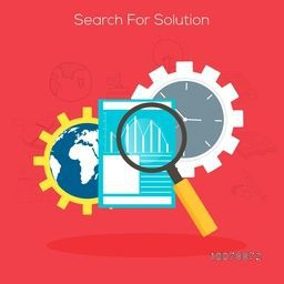 Search for Solution concept with illustration of magnifying glasses analyzing professional graphs and infographic elements.