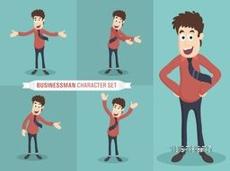 Set of young Businessman character in different positions.