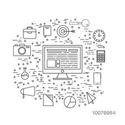 Creative Infographic elements with digital devices for your Business.
