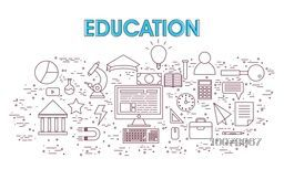Set of various Infographic elements with digital device for Education concept.