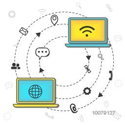 Creative Infographic layout with digital device and symbols for Online Social Networking and Communications concept.