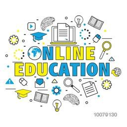 Creative Infographic elements for Online Education concept.