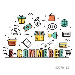 Colorful creative Infographic elements for Online E-Commerce Business concept.