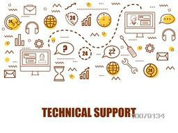 Set of various Infographic elements for Technical Support concept.