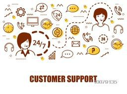 Creative Infographic elements with people working as Customer Supporter.