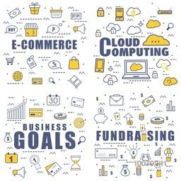 Set of various Business Infographic elements for E-Commerce, Cloud Computing etc.