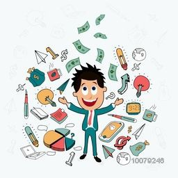 Illustration of smiling young Businessman on colorful infographic elements background.